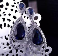 18k White Gold Platinum Earrings made w Swarovski Crystal Sapphire Blue Stone
