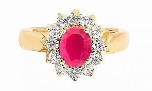 Ah! Jewellery GL26 Women's Ruby Gemstone Gold-Filled Ring