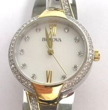 Bulova 98L227 Ladies Crystal Accented Two Tone Bangle Watch