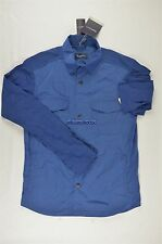 NEW MEN'S ZEGNA SPORT CRINKLED BLUE NYLON SHIRT JACKET SZ M $595 #45-79209