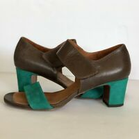 Chie Mihara Leather & Suede Ankle Strap Heel Sandals 38 Brown Teal