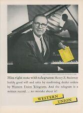 1959 Western Union Telegram Ad Henry Z. Steinway President Piano Pianos