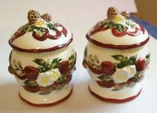 Bico Christmas Holiday Pinecones , Flowers & Red Ribbon Salt & Pepper Shakers