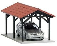 Busch Car Port with Tiled Roof & Car 1481 HO Scale (suit OO also)