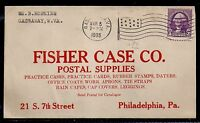 1935 Postal Supplies Ad - Gassaway, WV to Philadelphia - Fisher Case - Flag Canx