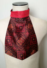 Vintage 1970s Mens Ascot Cravat Wide Tie Brown & Red Medallion Print Made in UK