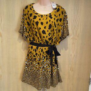 BNWT TU Ladies Dress Size 18 Mustard Yellow Leopard Print Animal Kenya Mini NEW