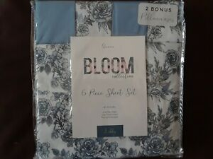 New Bloom Collection Floral Queen 6 Piece Sheet Set ~ Blue Gray Flowers NIP
