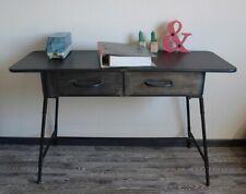 Schreibtisch Konsole komplett aus Metall Grau im Vintage Industrie Design NEU