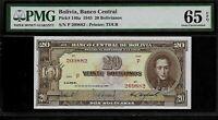 Bolivia 20 Bolivianos 1945 PMG 65 EPQ UNC  Pick # 140a