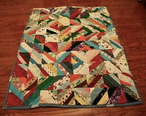 """Vintage hand Tied Louisiana Crazy Quilt Patchwork Neon Colorful 76"""" x 60"""""""