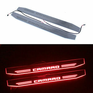 Red LED Light Door Moving Sill Scuff Plate Cover For Camaro Chevrolet 2012+