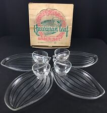 Vintage Hawaiian Leaf 8 Piece Snack Set Original Box Federal Glass Company