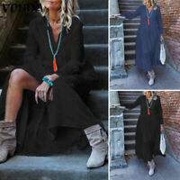 Oversize Femme Robe Casual en vrac Ample Col V Manche Longue Couture Dresse