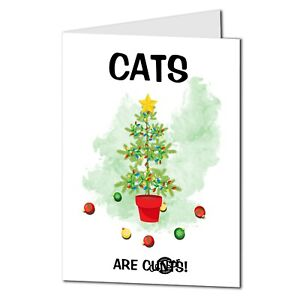 Slightly rude funny Cats are cnuts christmas card can be personalised 24