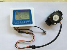 """G3/4""""  flow sensor +LCD display Digital meter temperature measuring  Liter Gal"""