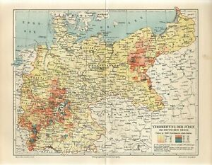 1900 GERMANY JEWS DISTRIBUTION OF JEWS IN GERMAN REICH  Antique Map