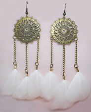 F1327 vogue white Feather charm chain cute dangle chandelier earrings