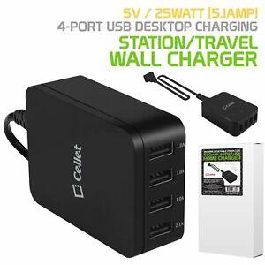 5V  25Watt 5.1Amp 4 Port USB Desktop Charging Station/Travel Wall Charger Black.