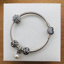 Authentic Pandora Sparkling Heart Clasp Snake Chain Bracelet Sz18