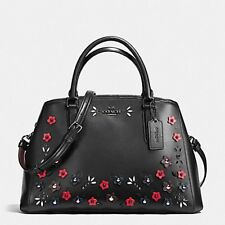Coach Bag F59449 Black Multi Small Margot Carryall With Floral Aplique Agsbeagle