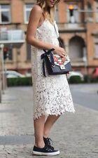 Zara vestido Maxi vestido de encaje bordado Long embroidered STRAPPY Lace dress size s
