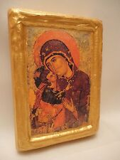 Virgin Mary Jesus Rare Byzantine Greek  Orthodox Icon on Pine Wood Block