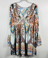 Umgee Plus Size 1X 1XL Paisley Boho Bell Sleeve Tunic Top Blue Multicolor