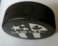 OMAHA LANCERS USHL VINTAGE RARE made on NHL OFFICIAL GAME PUCK made in CANADA
