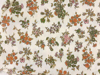 Vintage 1970s Fabric Floral Rust Olive Green Off White Flowers Decor Crafts