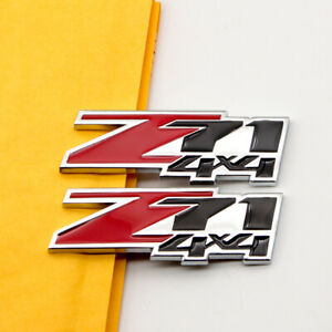 2Pcs Red & Black Coated Metal Z71 4x4 Chrome Emblem Badge for Silverado Sierra