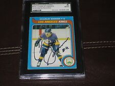 CHARLIE SIMMER AUTOGRAPHED 1979-80 O-PEE-CHEE ROOKIE CARD -SGC SLAB-ENCAPSULATED