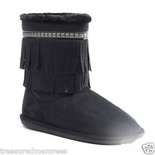 Candie's Fringed Midcalf Faux Fur Boots ~ Size 7.5 ~ Black