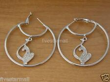 Baby Phat & Circle Silver Rhinestone Jumbo Hoop Pair Earrings