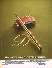 PUBLICITE  1973   DUPONT   stylo et briquet  laque de chine rouge
