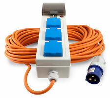 Quality Semloh Camping, Caravan, Triple 3 Way  Metre Mobile Mains Power Unit