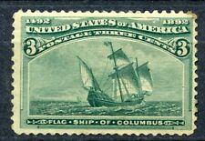 SCOTT  # 232 - ONE THREE CENT FLAG SHIP OF COLUMBUS STAMP  - OG - HINGED  - MINT