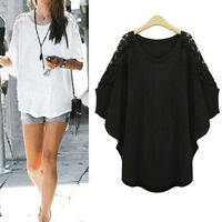 Women Ladies Casual Top Blouse Dress Short Sleeve UK Size 18 20 22 24 26 28 #816