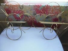 2 Vintage Home Interior Metal Wire Wall Shelves, Gold Painted Circles Great Cond