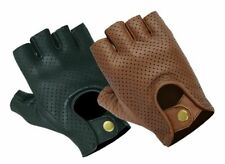 LEATHER FINGERLESS GLOVES BIKER DRIVING CYCLING WHEELCHAIR GYM PADDED