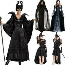 Women Deluxe Cospaly Wicked Witch Fancy Dress Halloween Party Costume Outfit UK