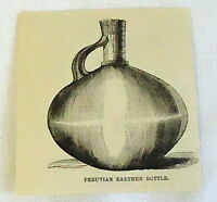 1883 small magazine engraving ~ PERUVIAN EARTHEN BOTTLE - pottery