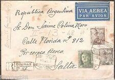 SPAIN Duenas Airmail Registered 1948 Cover send to Argentina