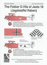 BLUE RIDER WWI 1/72 decals FOKKER D.VII of Jasta 18  *FREE POSTAGE WITH KIT*