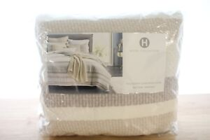 Hotel Collection Honeycomb Stripe Linen FULL/QUEEN Duvet Cover OATMEAL i2149