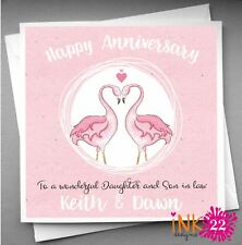 Personalised Handmade Anniversary Card Pink Flamingo Daughter and Son in Law
