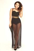 Womens Black Bodysuit and Mesh Sheer Long Dress Sleeveless Strappy Sizes 8