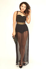 Womens Black Bodysuit and Mesh Sheer Long Dress Sleeveless Strappy Sizes 8