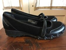 Skechers Active Sassies Black Suede Leather Mary Jane Wedge Shoes Women's 6.5