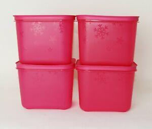 TUPPERWARE Eiskristall Gefrierbehälter 4x 1,1L Pink